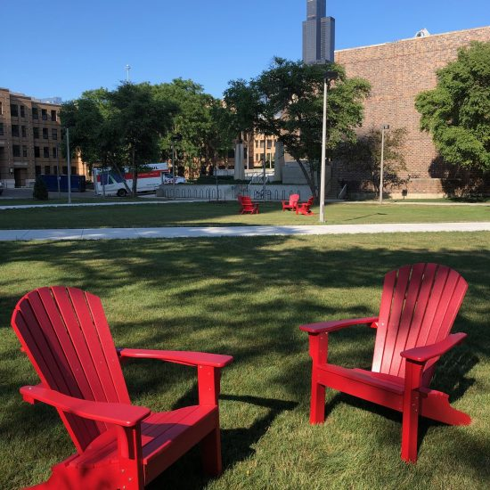 red chairs on campus