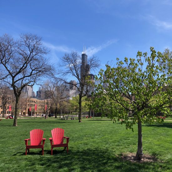 red chairs on UIC lawn
